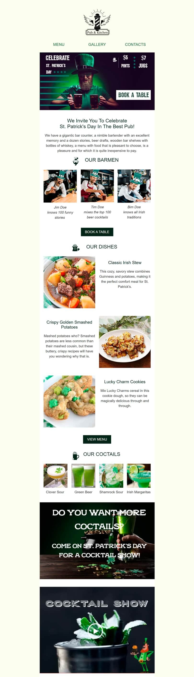 St. Patrick's Day Email Template «In The Best Pub» for Food industry desktop view