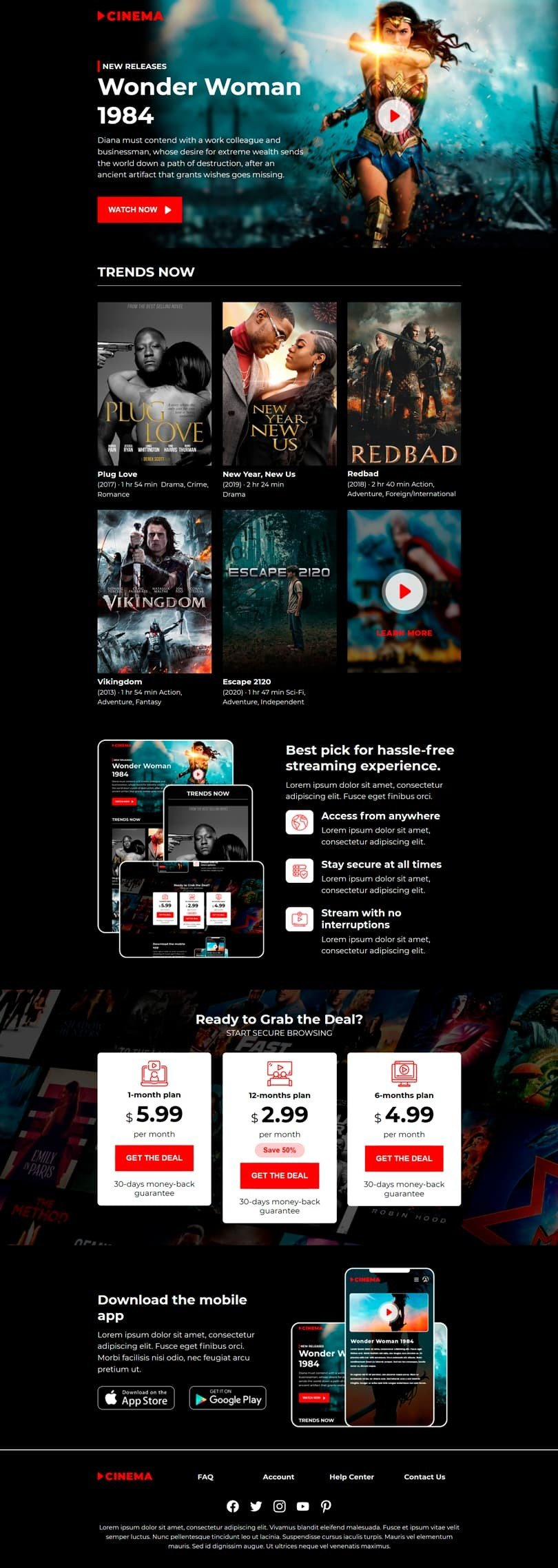 Promo Email Template «Home cinema» for Movies industry desktop view