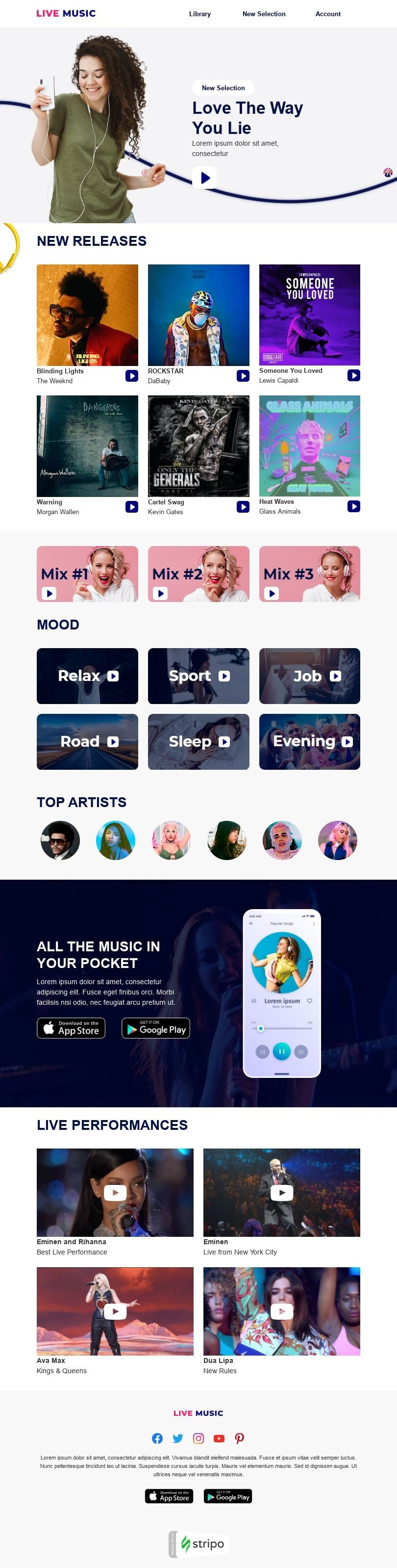 Promo Email Template «Musical Pause» for Music industry desktop view
