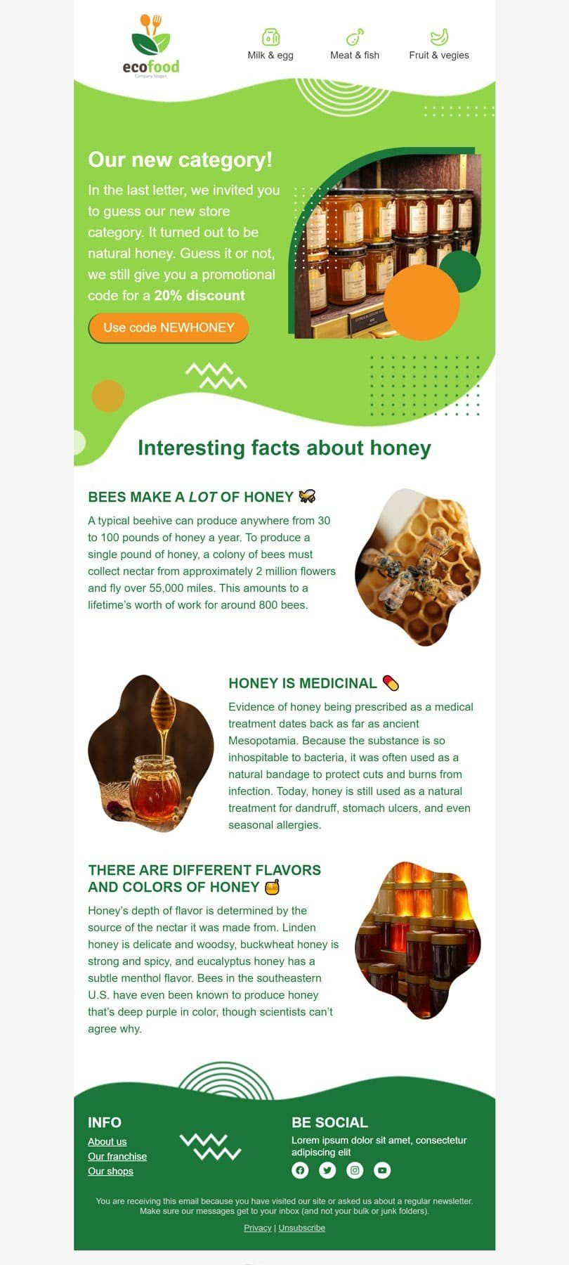 Promo Email Template «Natural honey» for Organic & Eco Goods industry desktop view
