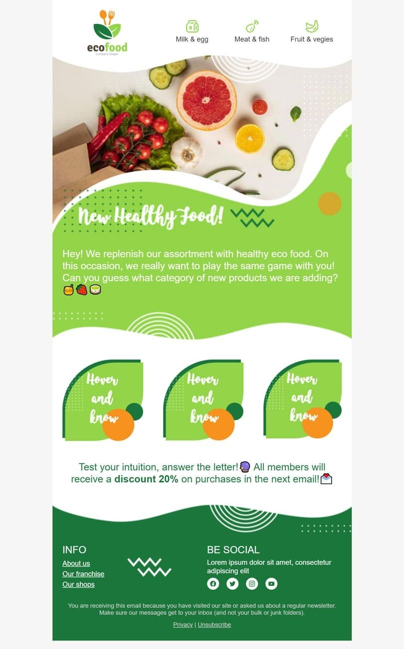 Promo Email Template «Healthy food» for Organic & Eco Goods industry desktop view