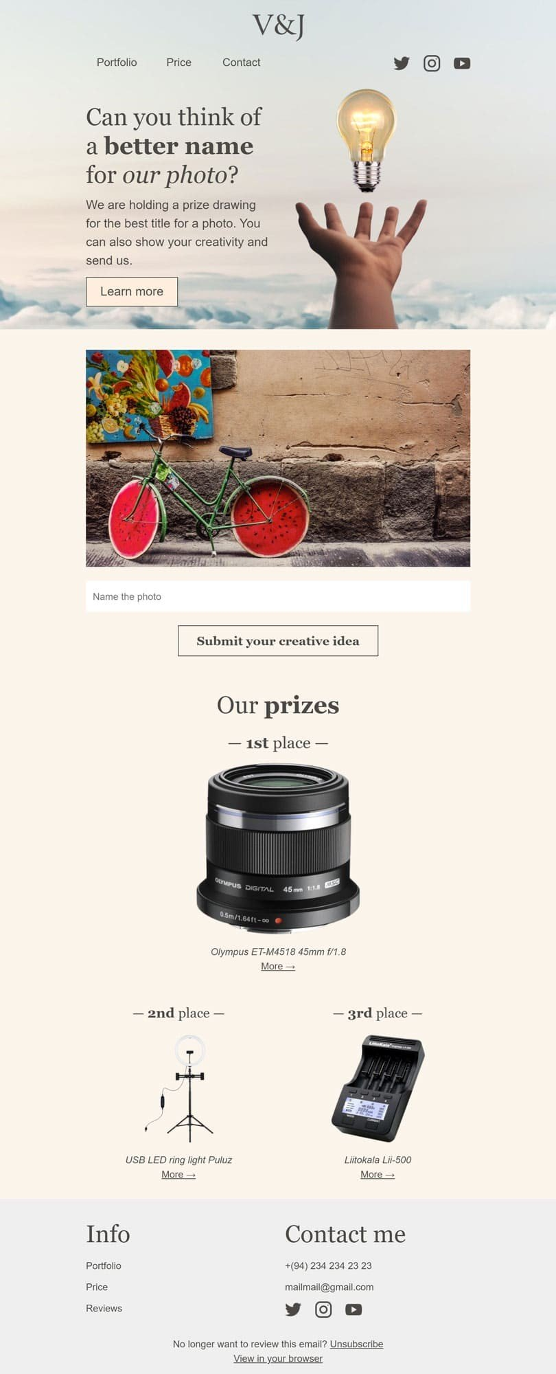 Promo Email Template «Name the photo» for Photographer industry desktop view