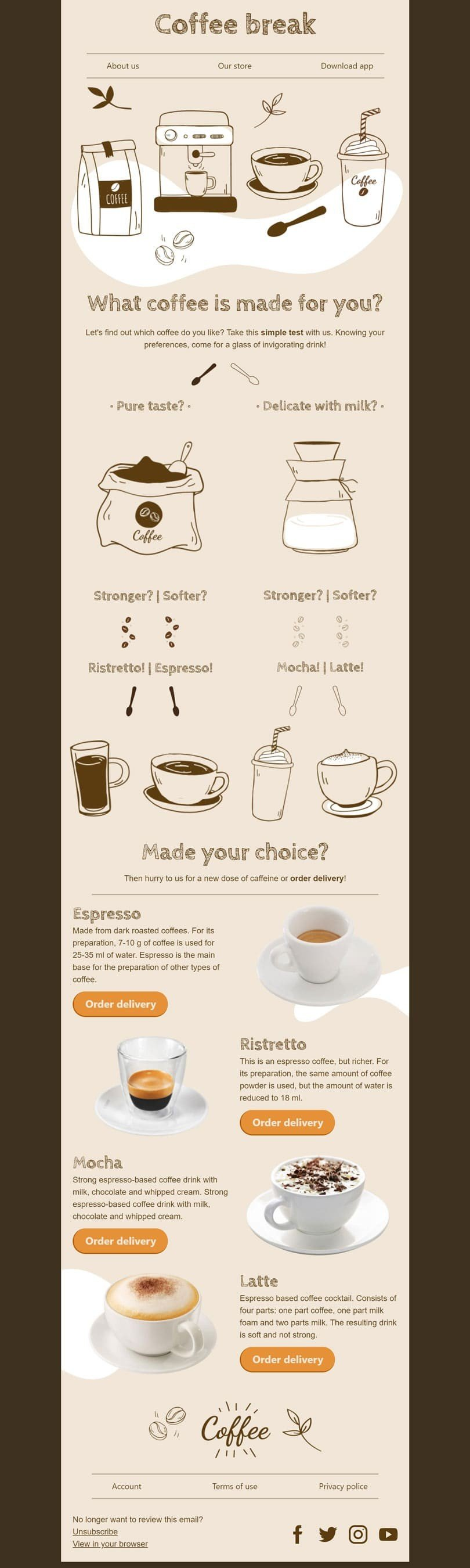 Promo Email Template «Choose your coffee» for Beverages industry desktop view