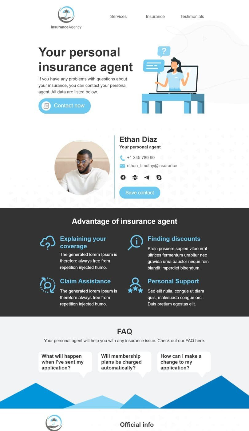 Alerts & Notifications Email Template «Personal assistant» for Insurance industry desktop view