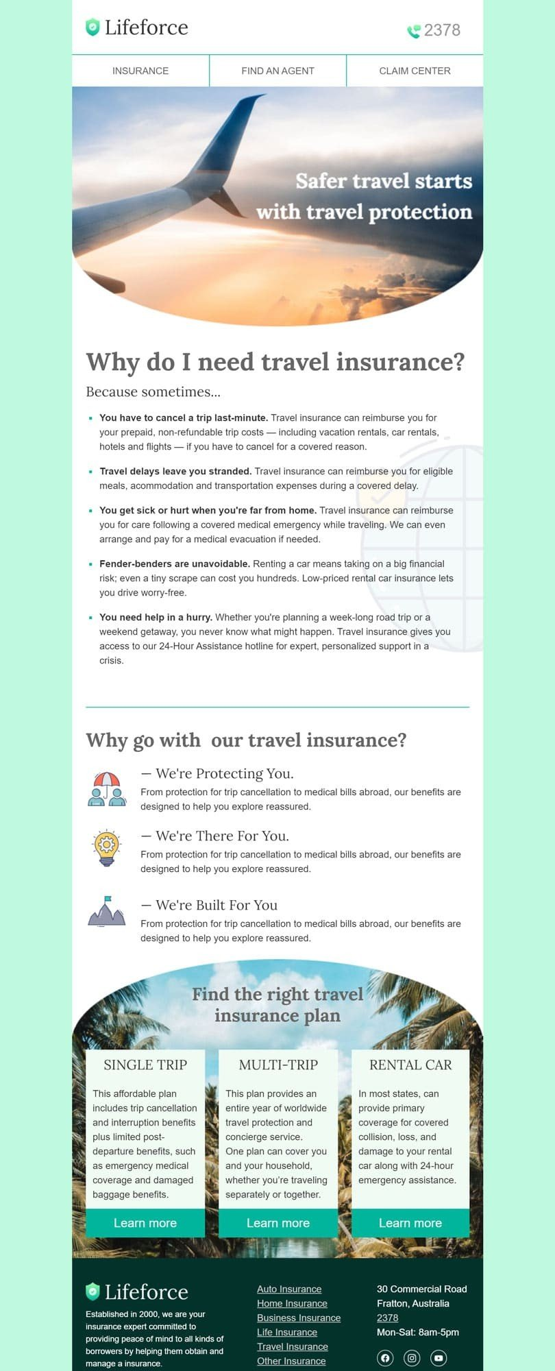 Promo Email Template «Travel insurance» for Insurance industry desktop view
