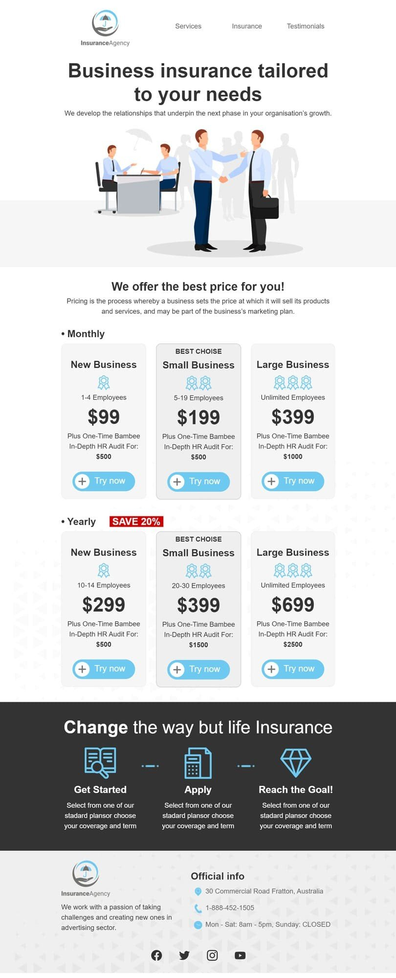 Promo Email Template «New offer» for Insurance industry desktop view