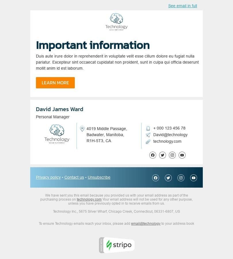 Promo Email Template «Important information» for Gadgets industry desktop view