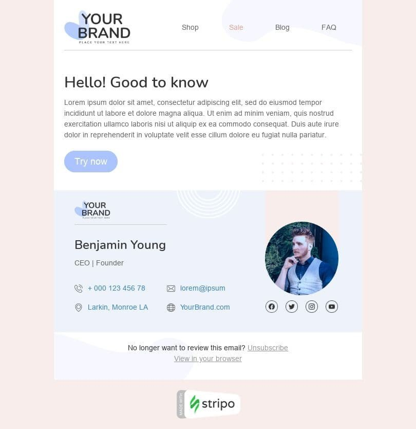 Promo Email Template «Your brand» for Fashion industry desktop view