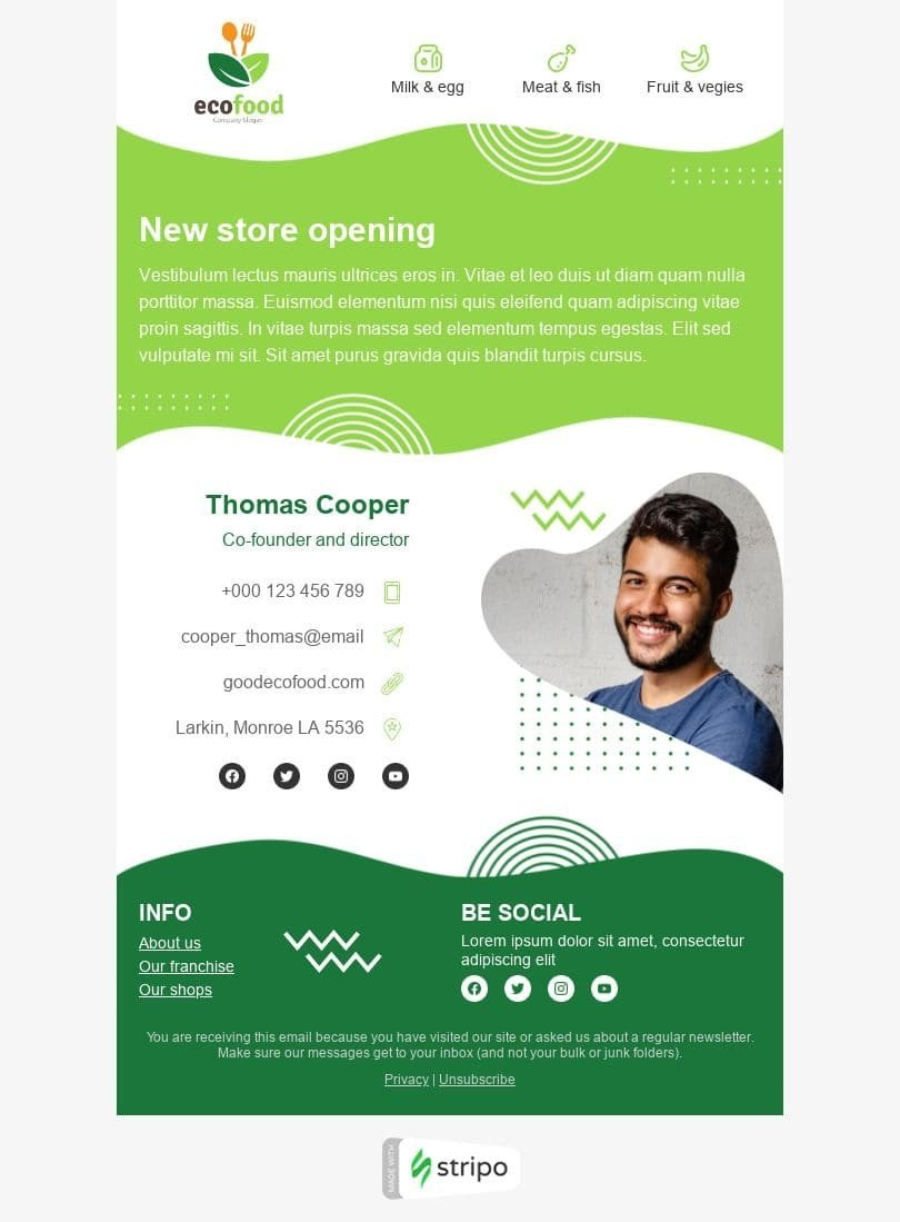 Promo Email Template «Store opening» for Organic & Eco Goods industry desktop view