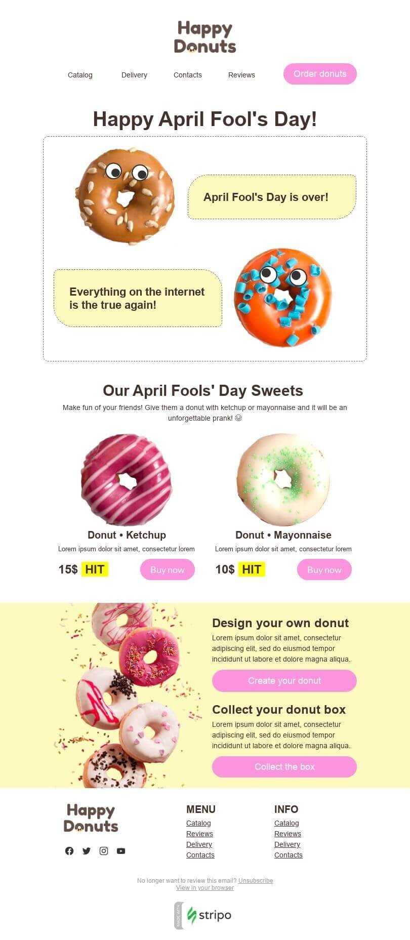 April Fools' Day Email Template «Donuts with surprise» for Food industry desktop view