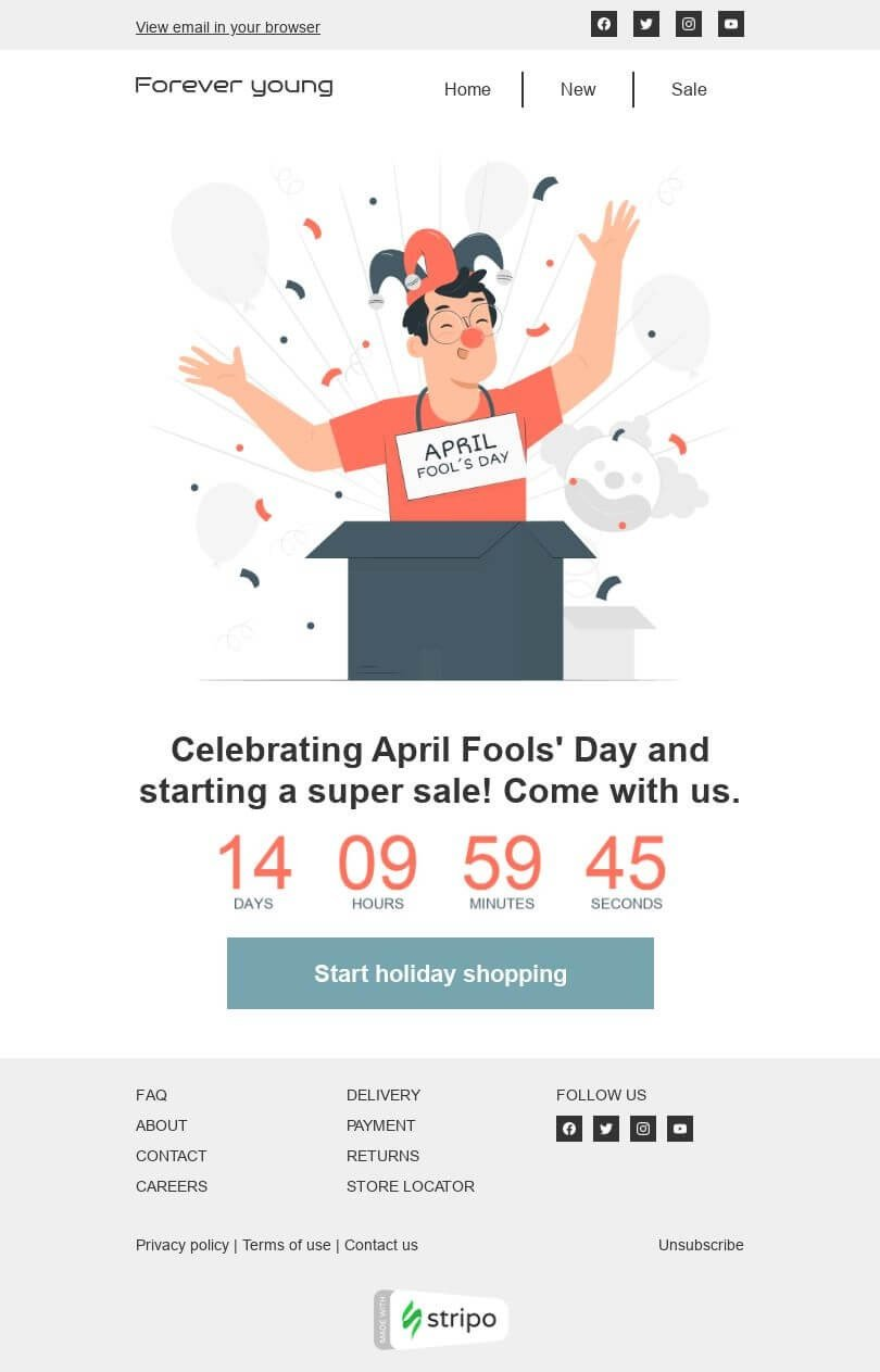 April Fools' Day Email Template «Celebrating April Fools' Day» for Fashion industry desktop view