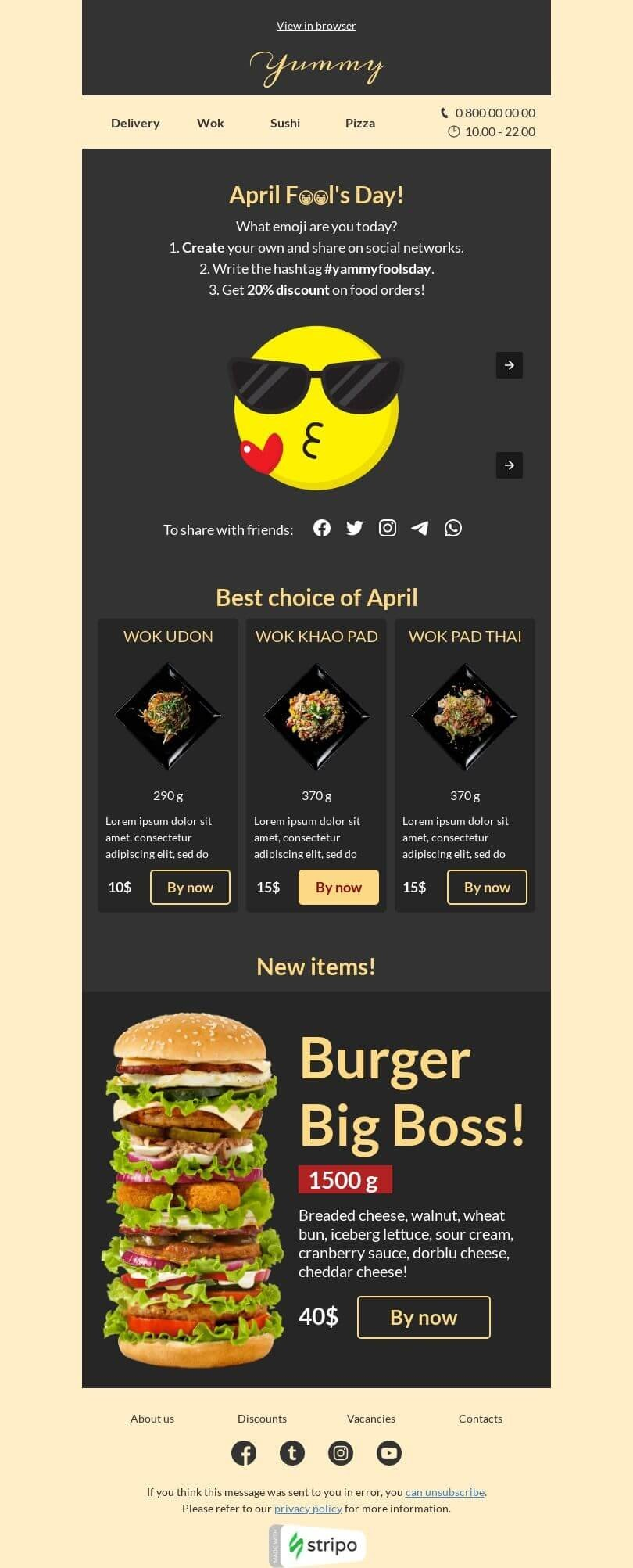April Fools' Day Email Template «Your emoji» for Food industry desktop view