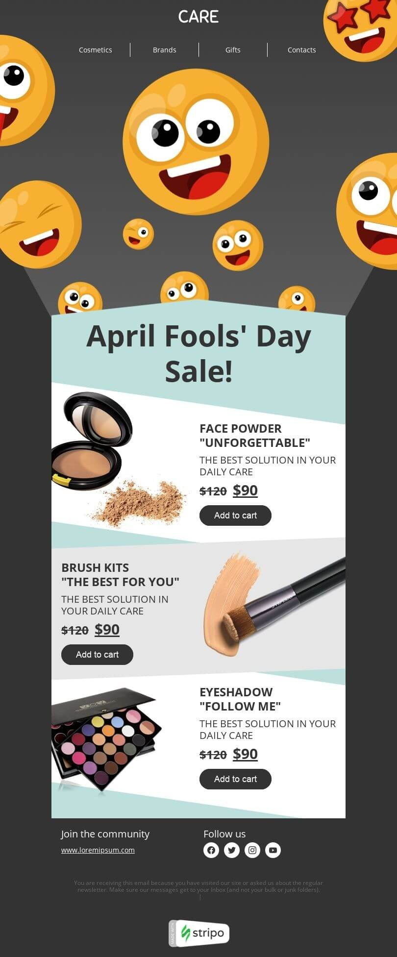 April Fools' Day Email Template «April Fool's Day sale» for Beauty & Personal Care industry desktop view