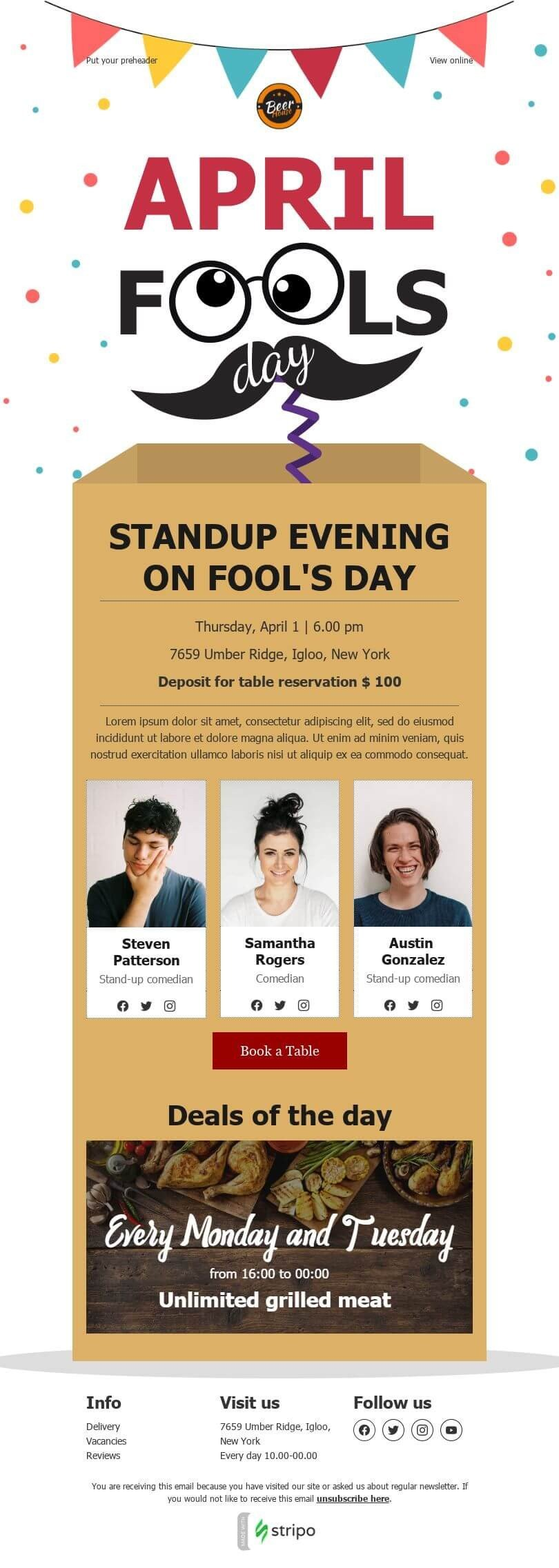 April Fools' Day Email Template «Standup evening» for Food industry desktop view