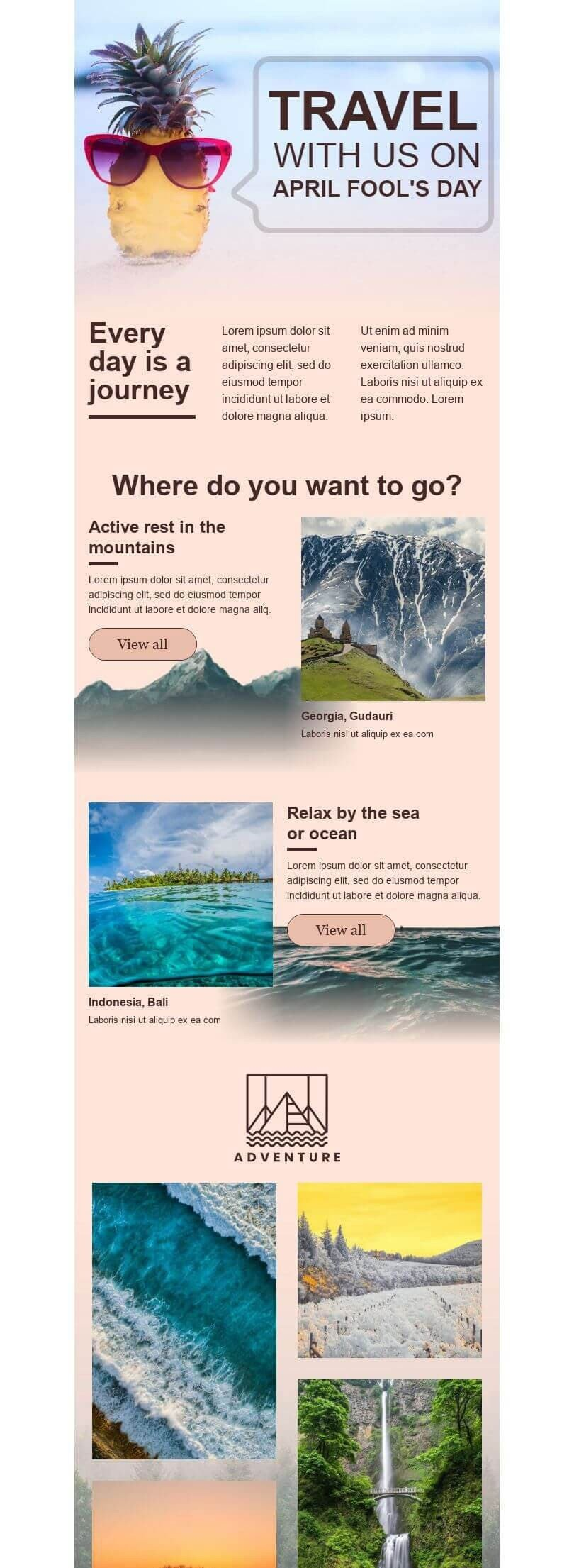 April Fools' Day Email Template «Every day is a journey» for Travel industry desktop view