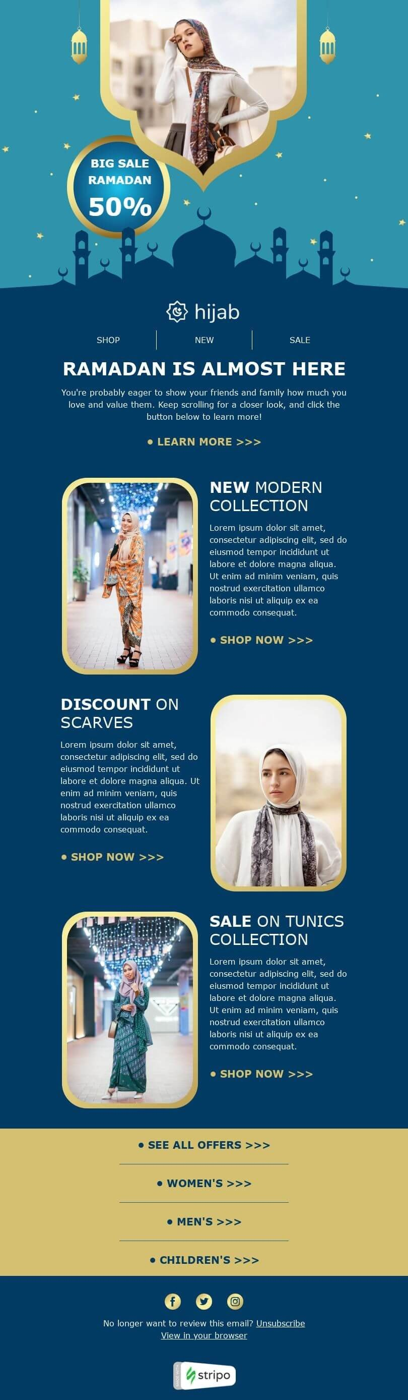 Ramadan Email Template «Hijab sale» for Fashion industry desktop view