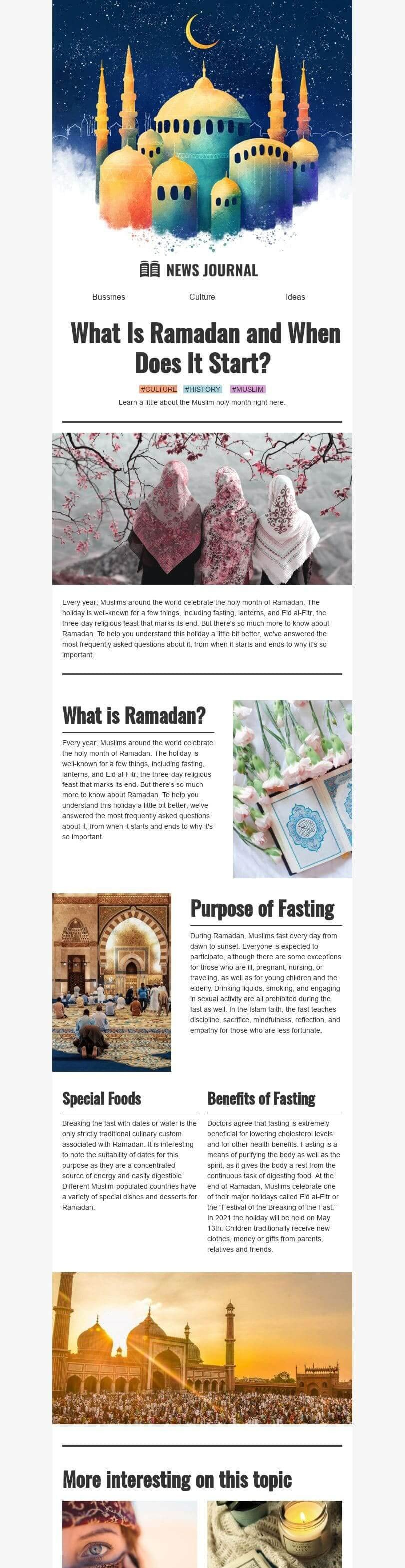 Ramadan Email Template «What is Ramadan» for Publications & Blogging industry desktop view
