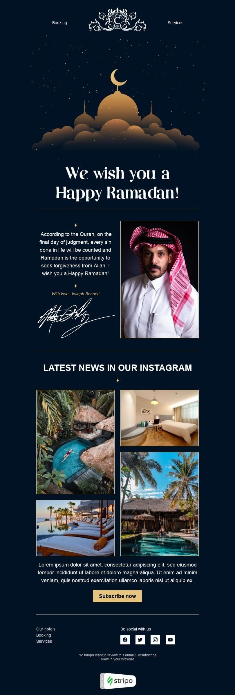 Ramadan Email Template «Luxury Hotel» for Hotels industry desktop view