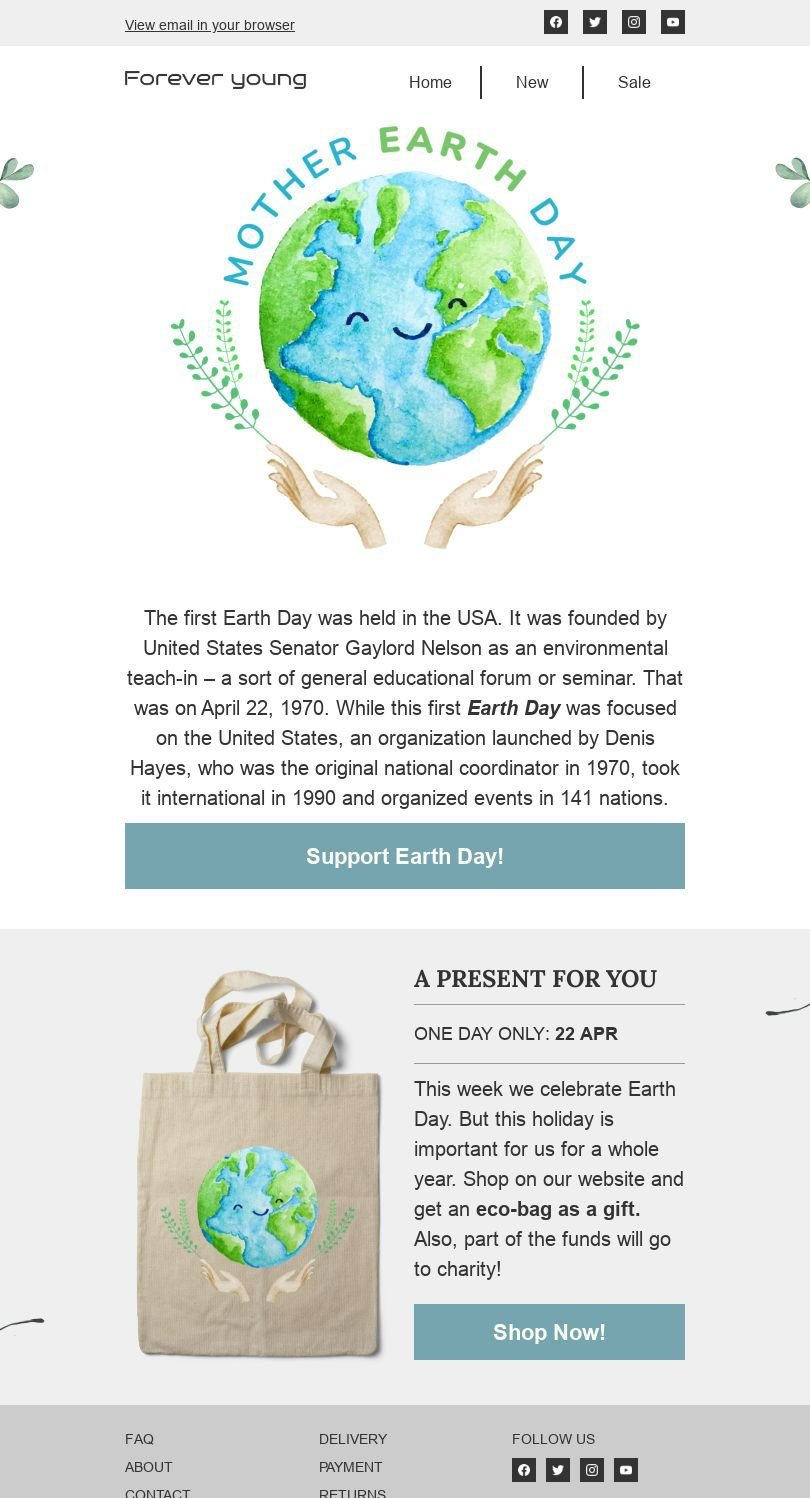 Earth Day Email Template «Present for you» for Fashion industry desktop view
