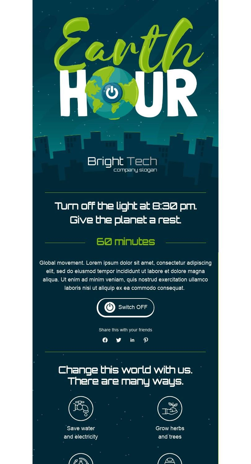 Earth Day Email Template «Earth hour» for Furniture, Interior & DIY industry desktop view