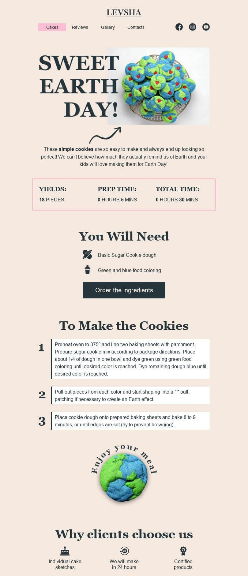 Earth Day Email Template «Make cookies» for Food industry desktop view