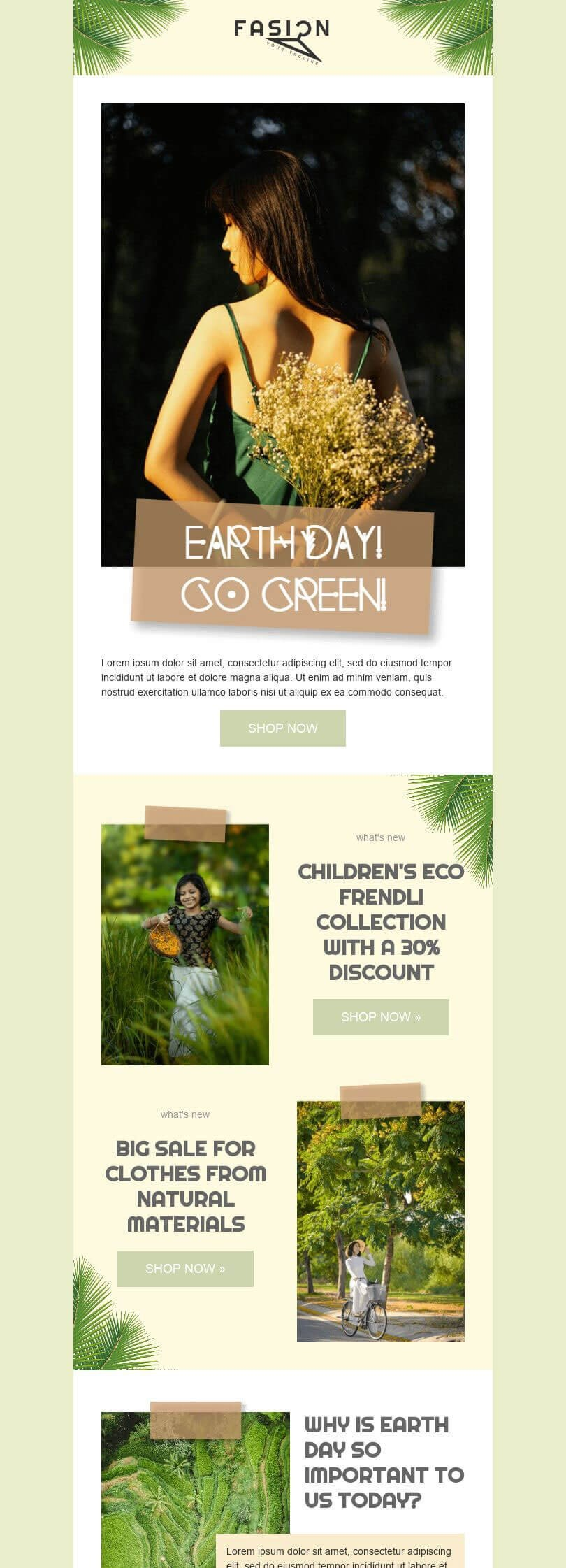 Earth Day Email Template «Go green» for Fashion industry desktop view