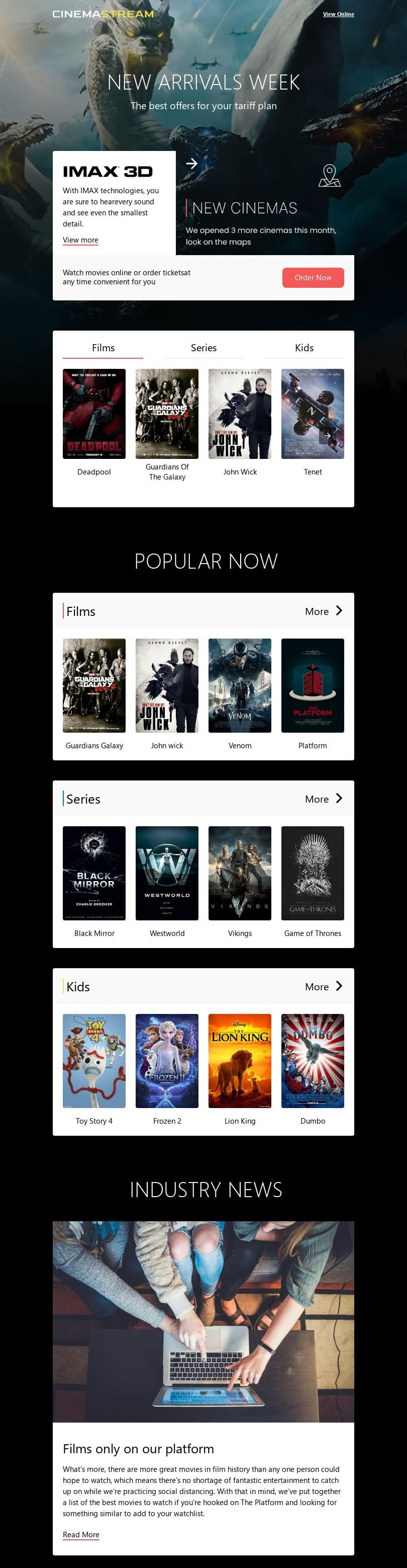 Promo Email Template «Evening viewing» for Movies industry desktop view