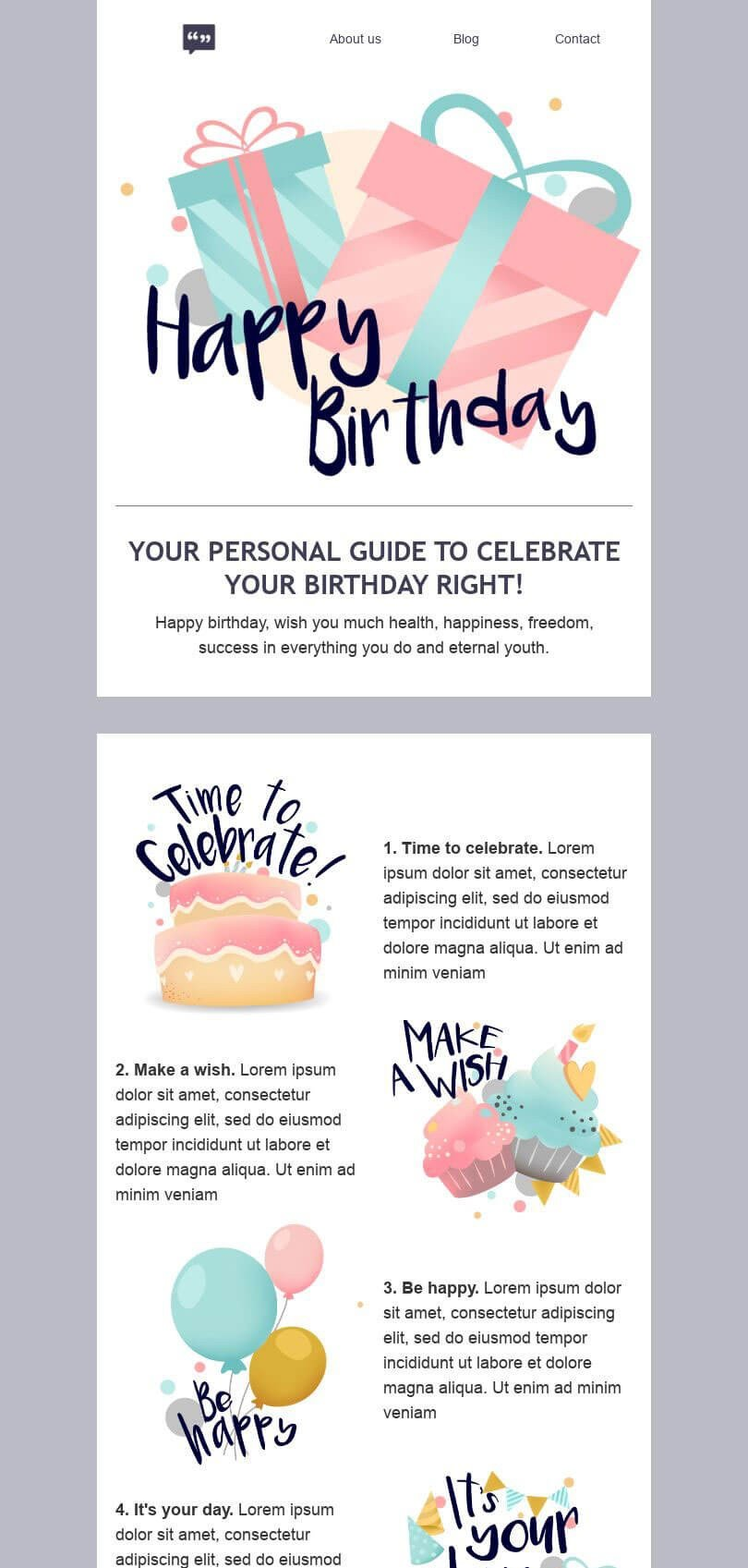 Birthday Email Template «Your holiday guide» for Publications & Blogging industry desktop view