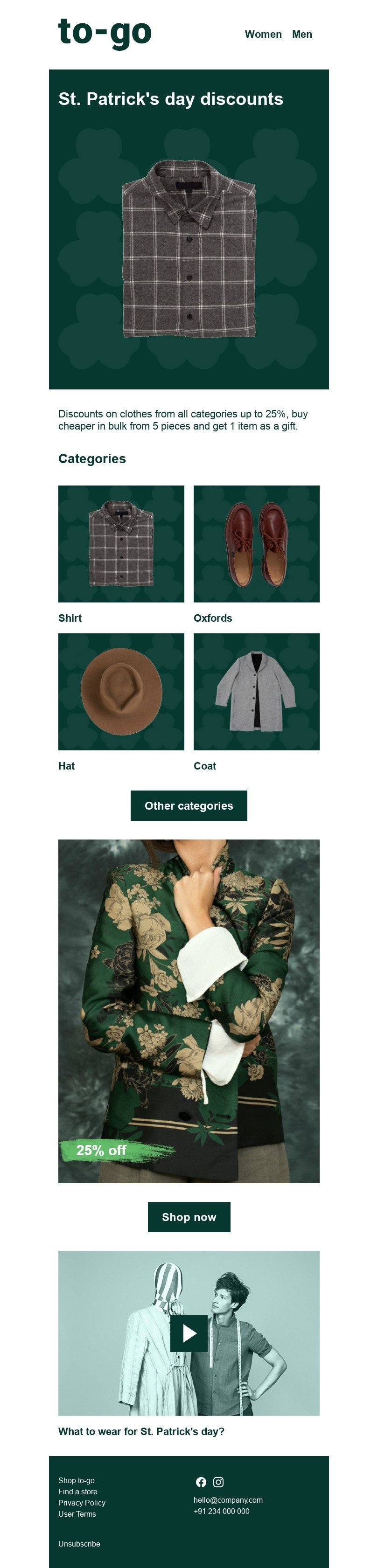 St. Patrick's Day Email Template «Daily Discounts» for Fashion industry desktop view