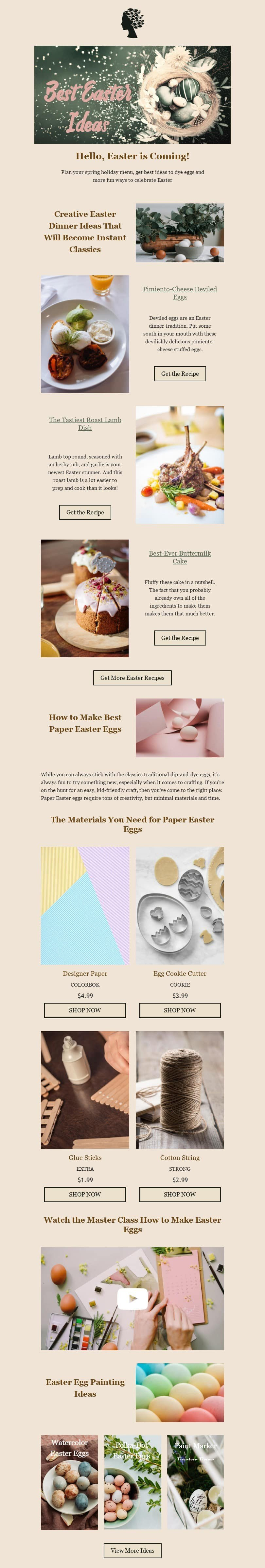 Easter Email Template «Best Easter Ideas» for Food industry desktop view