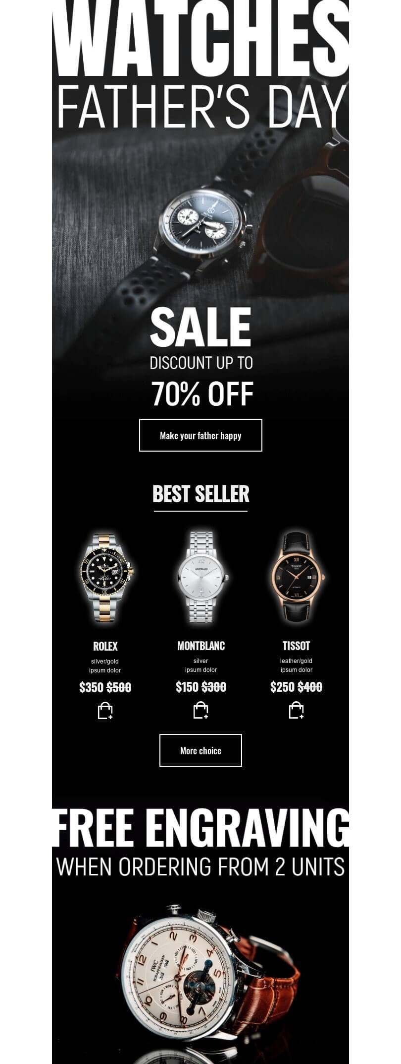 Father's Day Email Template «Sale of watches» for Jewelry industry desktop view