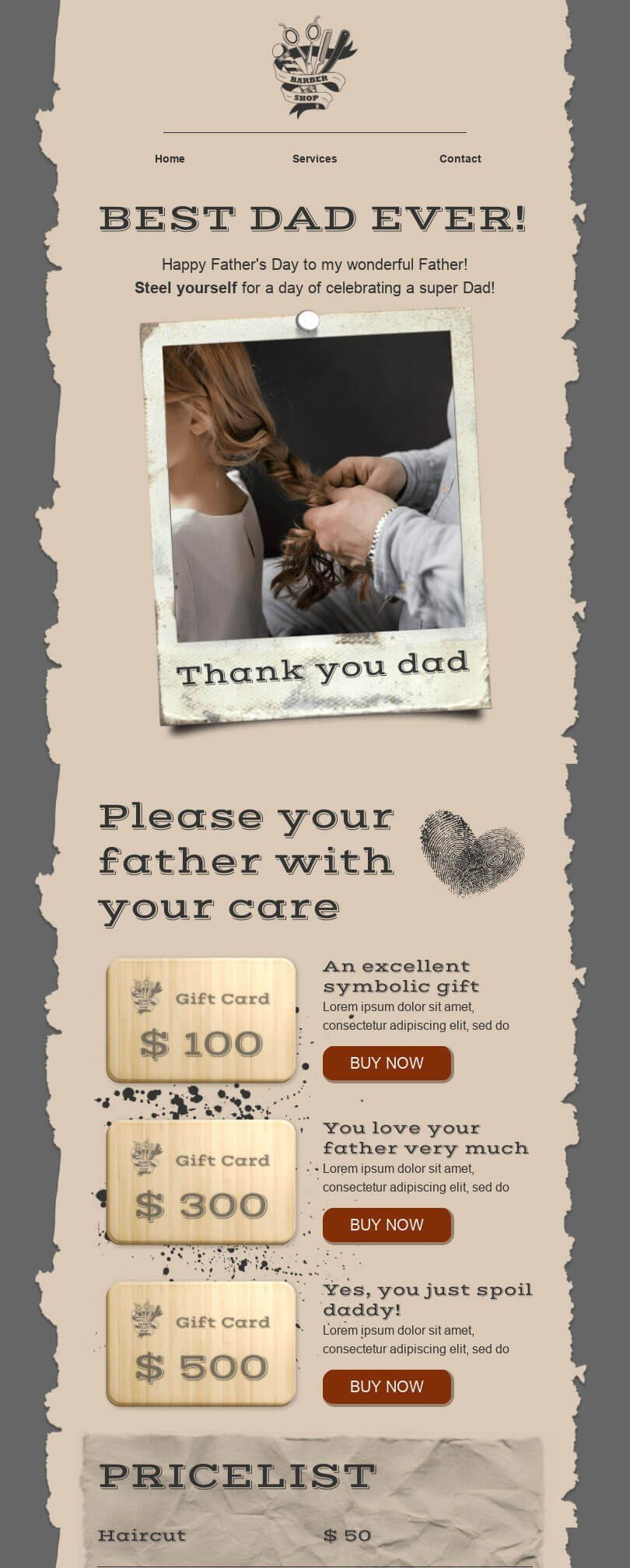 Father's Day Email Template «Thank you dad!» for Beauty & Personal Care industry desktop view