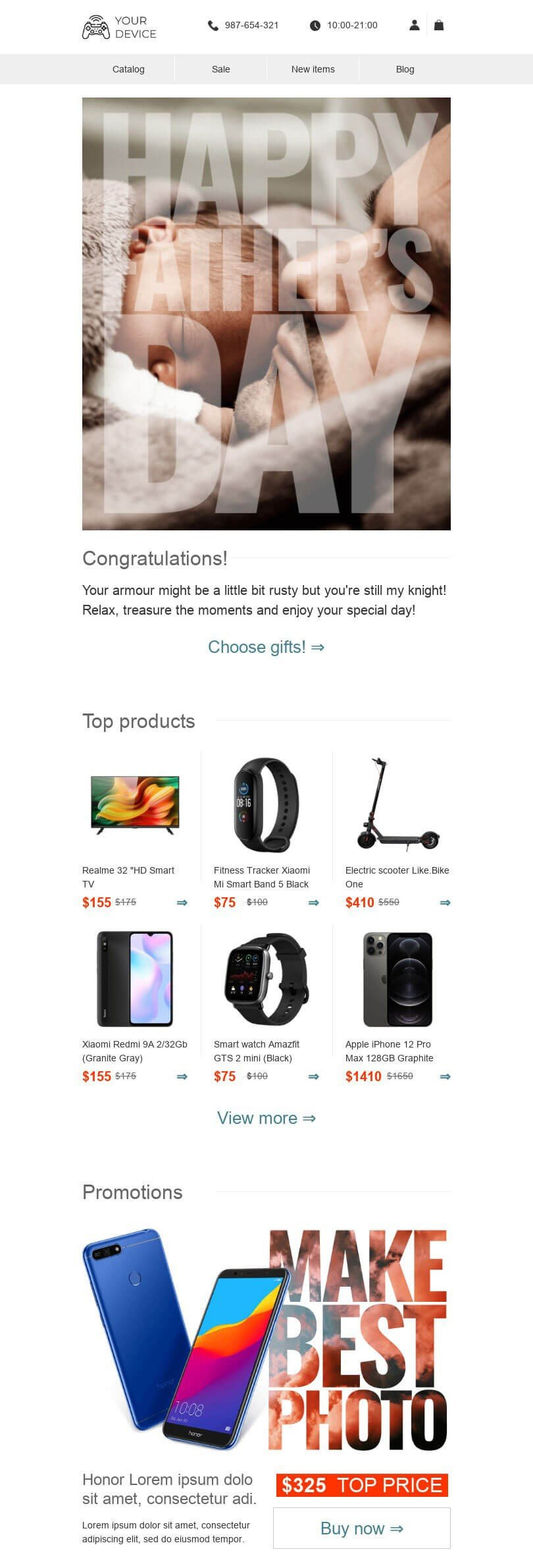 Father's Day Email Template «Father's concern» for Gadgets industry desktop view