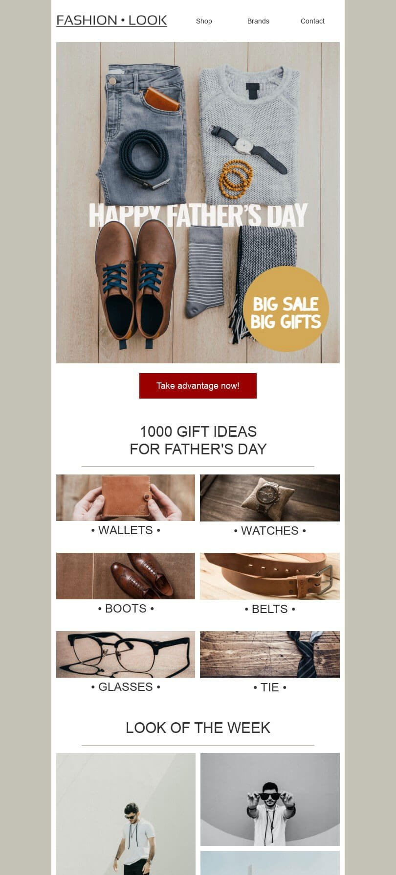 Father's Day Email Template «Accessories for men» for Fashion industry desktop view