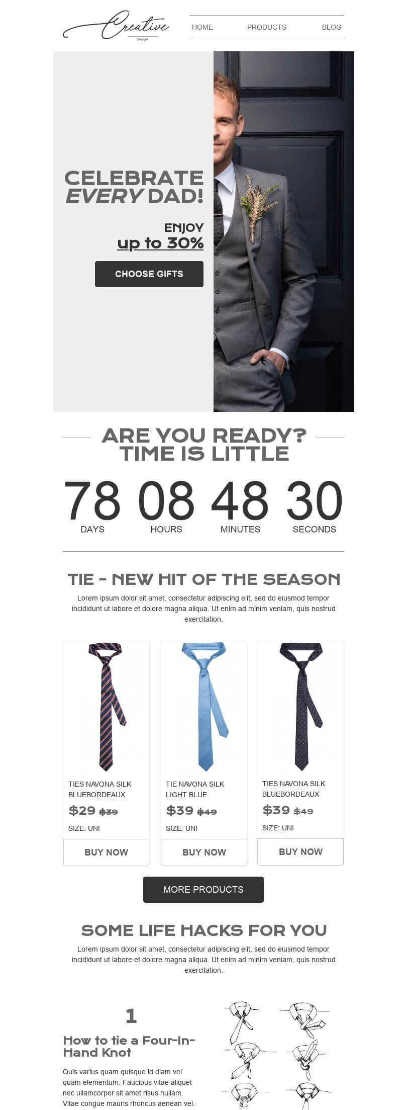 Father's Day Email Template «Ties» for Fashion industry desktop view