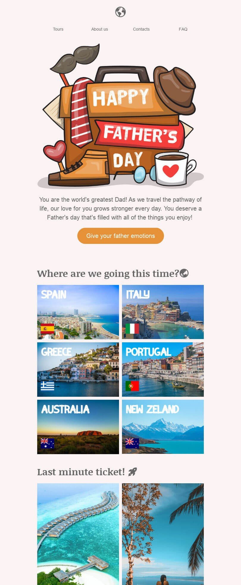Father's Day Email Template «Choose your country» for Travel industry desktop view