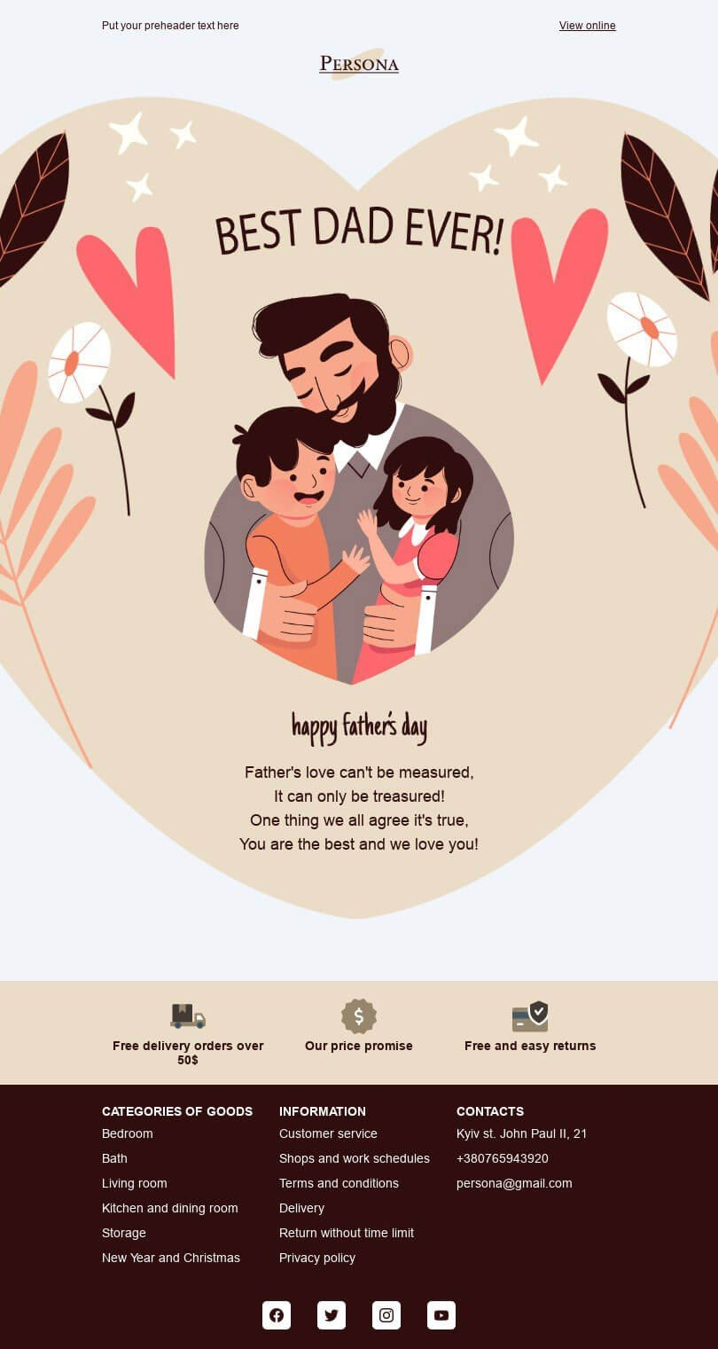 Father's Day Email Template «Best dad ever» for Furniture, Interior & DIY industry desktop view