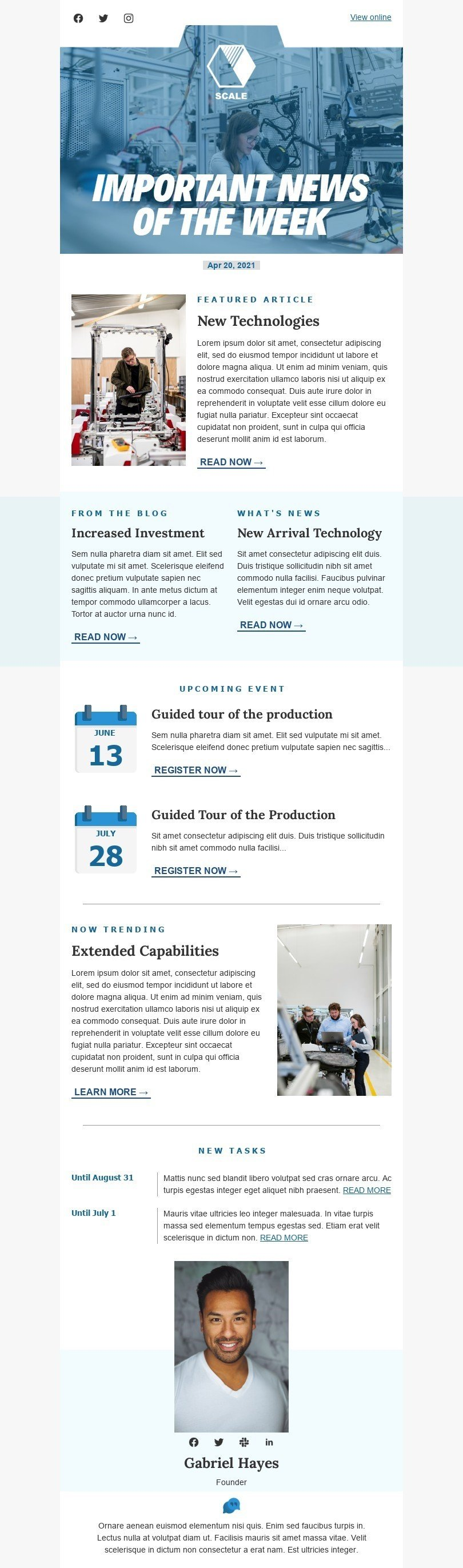 Promo Email Template «News of the week» for Manufacturing industry desktop view