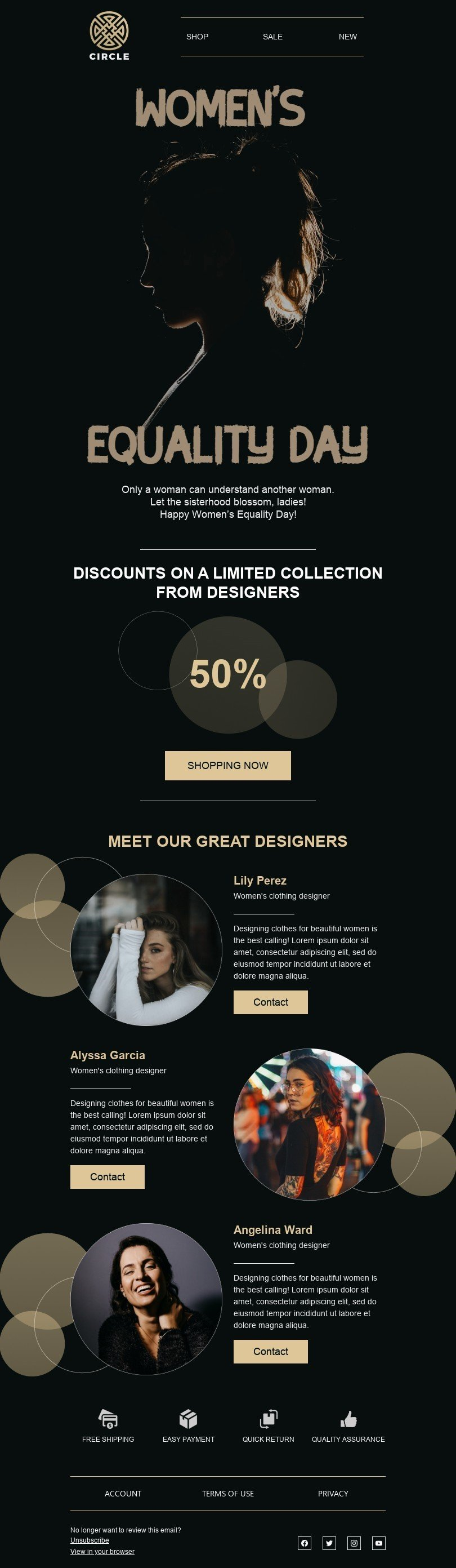 Women's Equality Day Email Template «Let the sisterhood blossom» for Fashion industry desktop view